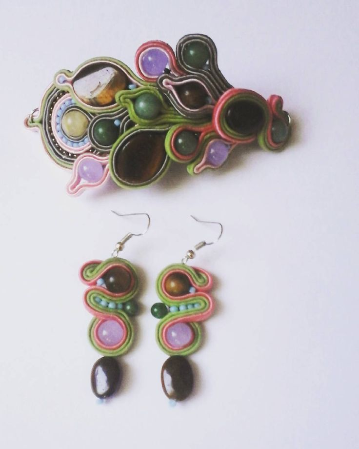 Soutache set. Bracelet, earrings