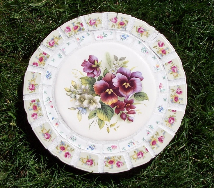 Pansy Vintage China Mosaic Stepping Stone