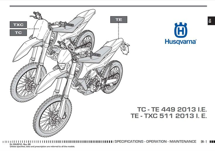 Husqvarna TC449 TE449 TE511 TXC511 2012 Owner's Manual has