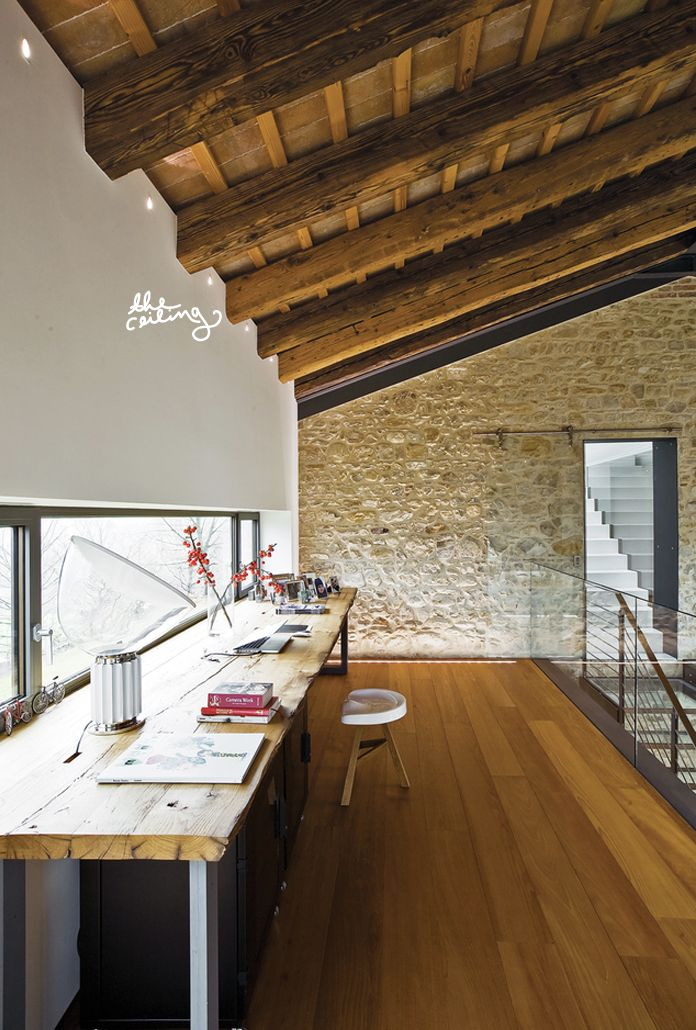 Dwell - Modern Home  |  The Fresh ExchangeWork Spacs, Stones Wall, Offices Spaces, Northern Italy, Work Spaces, Offices Area, Workspaces, Loft Spaces, Home Offices