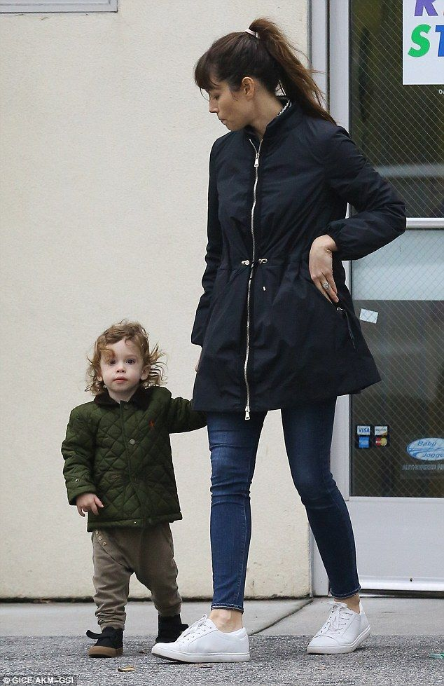 Mommy and me outing: Jessica Biel was spotted leaving a kids store with 22-month-old son Silas on Monday in Los Angeles