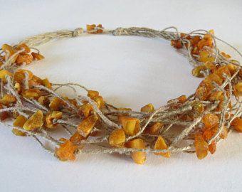 Amber ketting handgeknoopt natuurlijk vlas linnen-Barnsteen korte ketting-Dutch design- Deens Baltisch Amber ketting handmade-bruin collier
