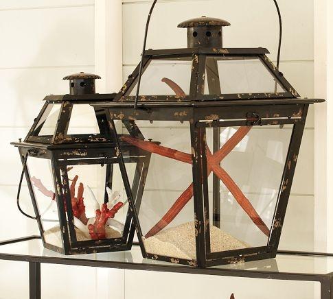want these as functional lanterns: Decor, Ideas, Lanterns Candles, Beaches House, Beaches Home, Sea, Nautical Theme, Pottery Barns, Metals Lanterns