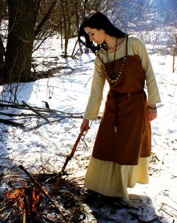 Scandinavian Apron Dress Early Medieval  by SlavMedievalShop