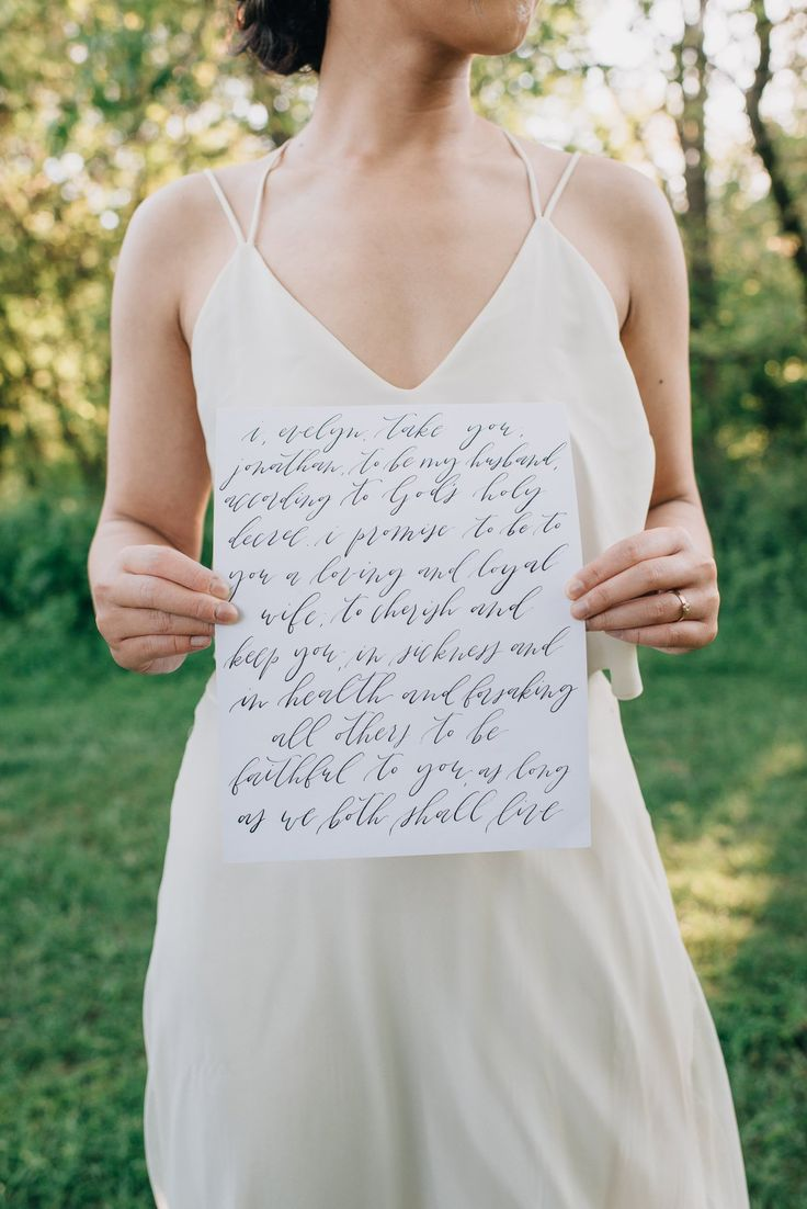 Wedding Vows Calligraphy Bride Elegant Wedding Dress   Wedding Inspiration: DIY Pastel Picnic Elopement Styled Shoot in Streetsville   Calligraphy by Bon Paper House