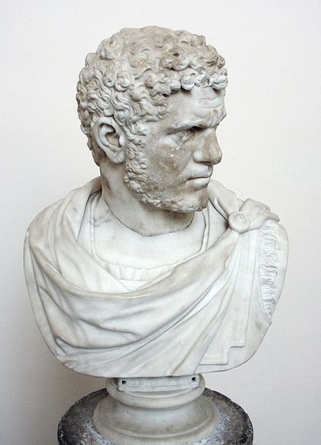 Roman marble portrait of the emperor Caracalla. The clean break at the bottom of the neck suggests that the bust itself is not original. Part of the Farnese collection; this bust once decorated the family's palazzo in Rome. Naples Museum, inv. 6088. H: 60 cm.