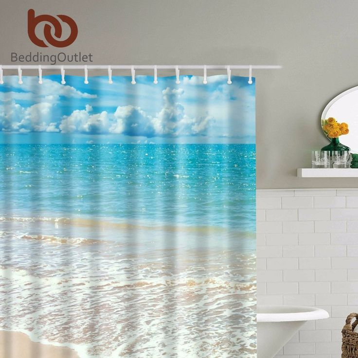 "BeddingOutlet Tropical Island Beach Shower Curtain Set with Hooks White Sand Turquoise Water Shower Bath Curtains 71""x71"" 180cm"