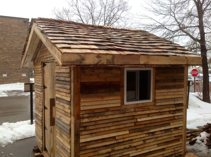 I Used Pallet Pieces For The Wood Shingles Home Depot