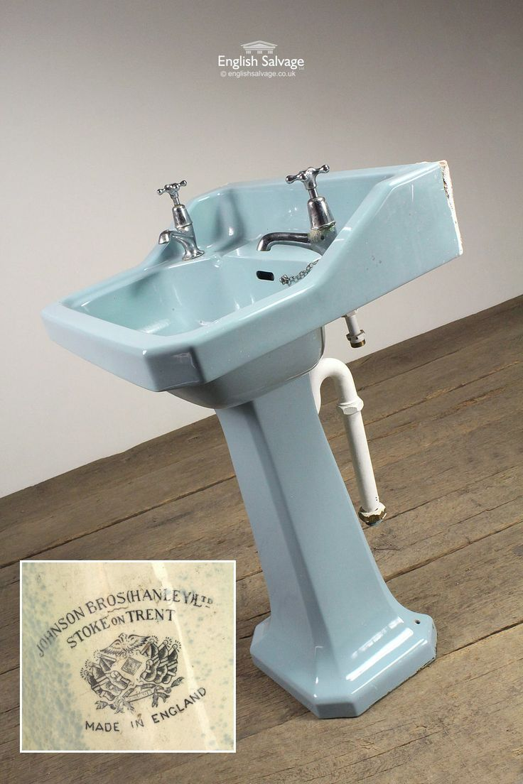 Johnson Bros Hanley Ltd Blue Pedestal Basin