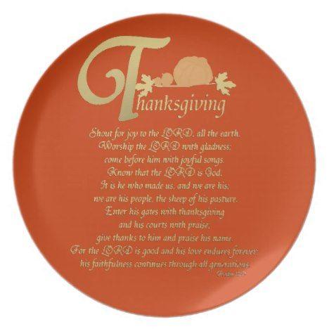 Thanksgiving - Psalm 100 Melamine Plate in 2018 Thanksgiving