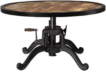 Industrial Adjustable-height Coffee Table, Natural Reclaimed eclectic-coffee-tables