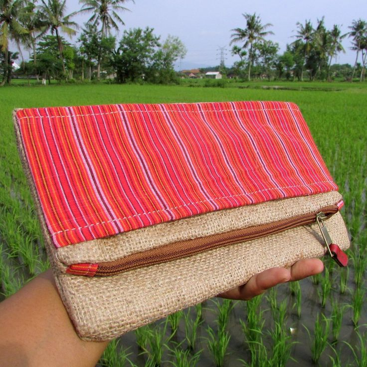 Alicia Red Convertible Tenun Lurik Gunny Clutch Bag   Clutch Bag Handmade Goni Tenun Lurik