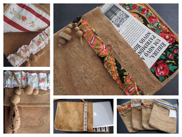 Porta-documentos ou bolsa para transporte de portátil em pele de cortiça conjugada com tecidos portugueses. | Gente da minha Terra