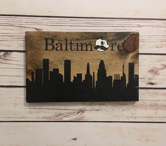 Baltimore Skyline Sign with Natty Boh as the O! Handmade and painted! Gotta love Natty Boh! Sign is 12 wide
