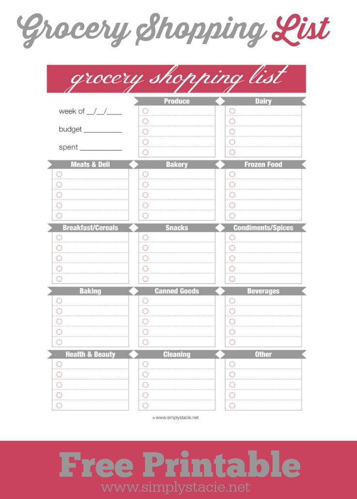 Free Grocery Shopping List Printable - organize your shopping trip and be a more efficient shopper!