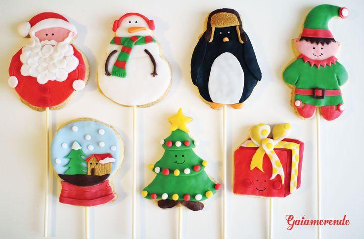 Christmas Cookie Pop Biscotti Natalizi su stecco (babbo natale, pupazzo di neve, pinguino, elfo, palla di neve, albero di natale, pacchetto regalo)