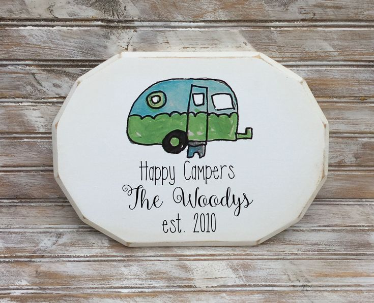personalized happy campers family wooden plaque,  wedding gift, retirement gift, camping sign, gift for couple, gift for campers by VintageMoonStudios on Etsy