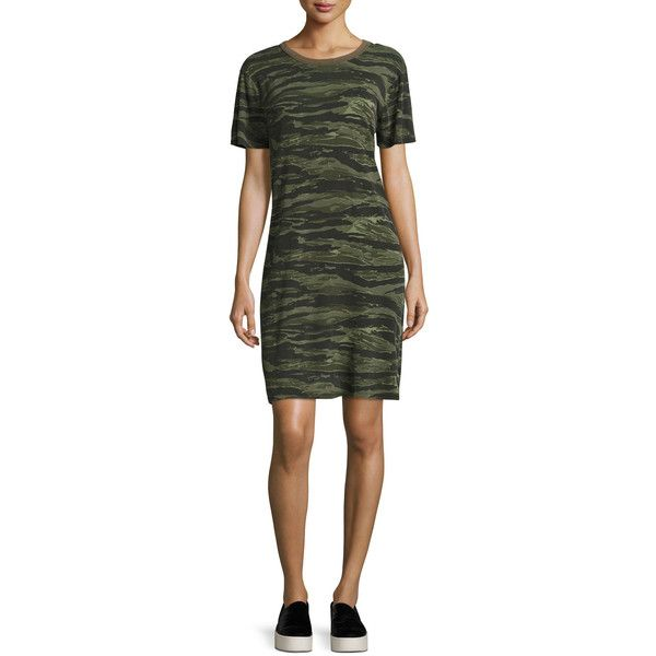 Current/Elliott The Beatnik Camo T-Shirt Dress (495 BRL) ❤ liked on Polyvore featuring dresses, green pattern, tee shirt dress, t shirt dress, camo t shirt dress, print shift dress and short-sleeve shift dresses