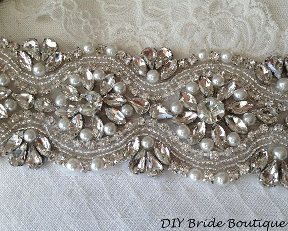 "Rhinestone applique 15"" couture crystal applique wedding applique beaded pearl applique for DIY wedding sash, bridal accessories"