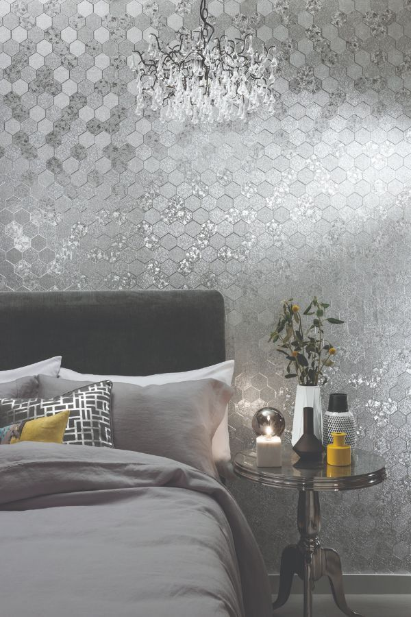 Foil Honeycomb By Arthouse Silver Wallpaper Wallpaper Direct Quality Living Room Furniture Bathroom Wallpaper Trends Silver Wallpaper