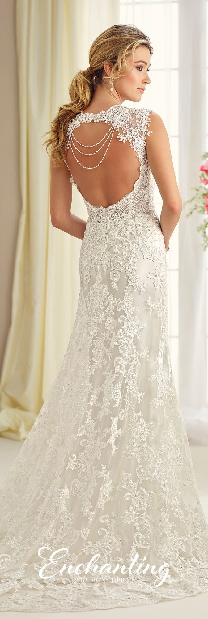 Enchanting by Mon Cheri Fall 2017 Collection - Style 217116 - sleeveless lace fit and flare wedding dress with Queen Anne neckline and keyhole back
