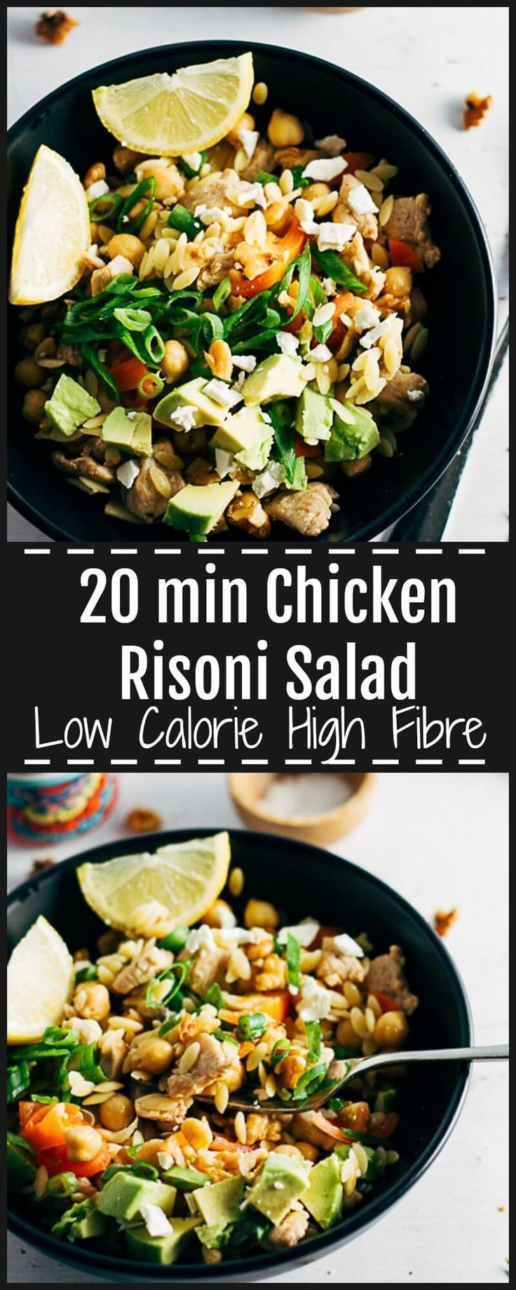 This Chicken Risoni Salad is light, refreshing, tangy and filling with walnuts, avocado & fetta. High in Fibre & protein & low in calories. Lunch or Dinner. via @https://au.pinterest.com/sugarfreekitc/my-sugar-free-kitchen-on-the-blog/