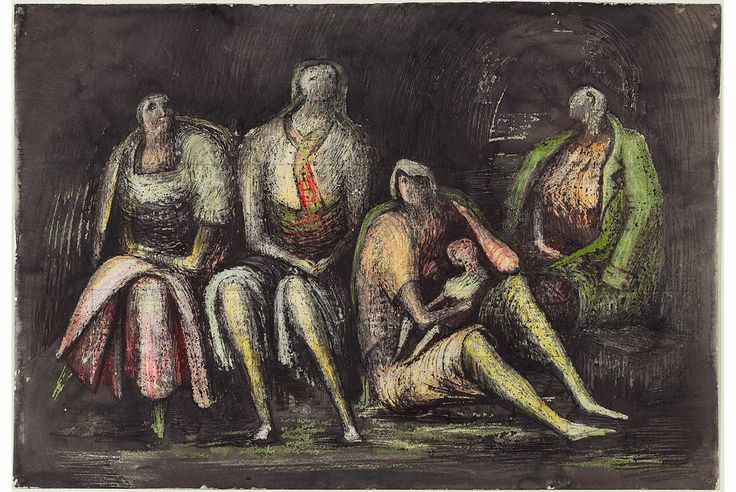 Group of Shelterers during an Air Raid (1941) Henry Moore
