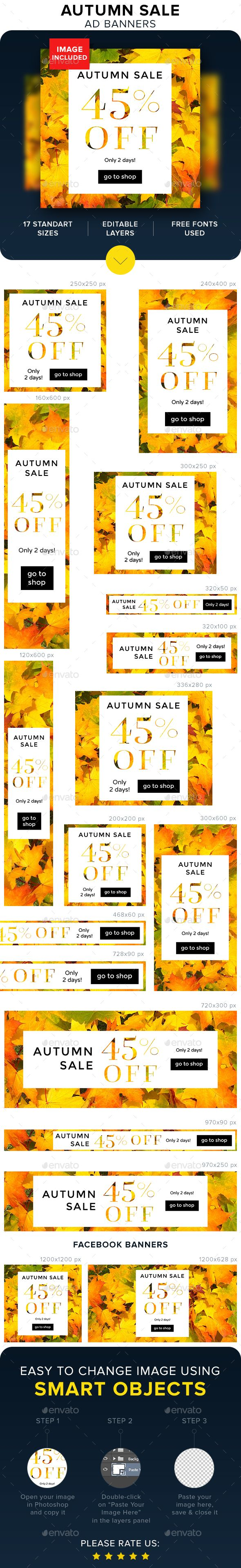 Autumn Sale Banners, ready web design in psd template for seasonal sale, image with leaf included.