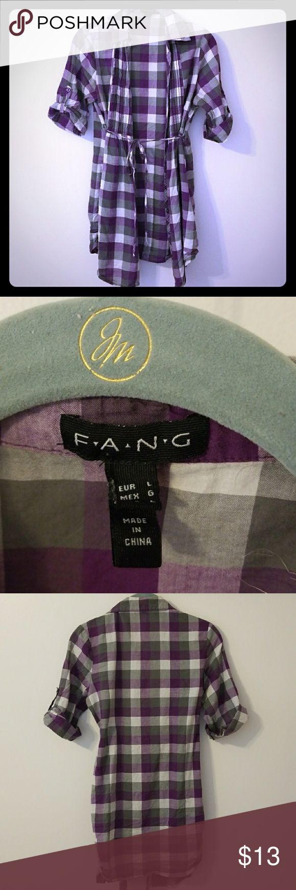"""FANG Purple and Grey Dress Super cute purple and grey plaid """"F.A.N.G"""" dress. Bought for an event an worn once. It's about thigh-length on me, but I'm pretty short too! fang Dresses Midi"""