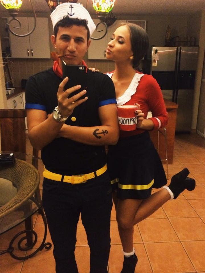 Popeye and Olive Oyl for Halloween #halloween #couple #costume