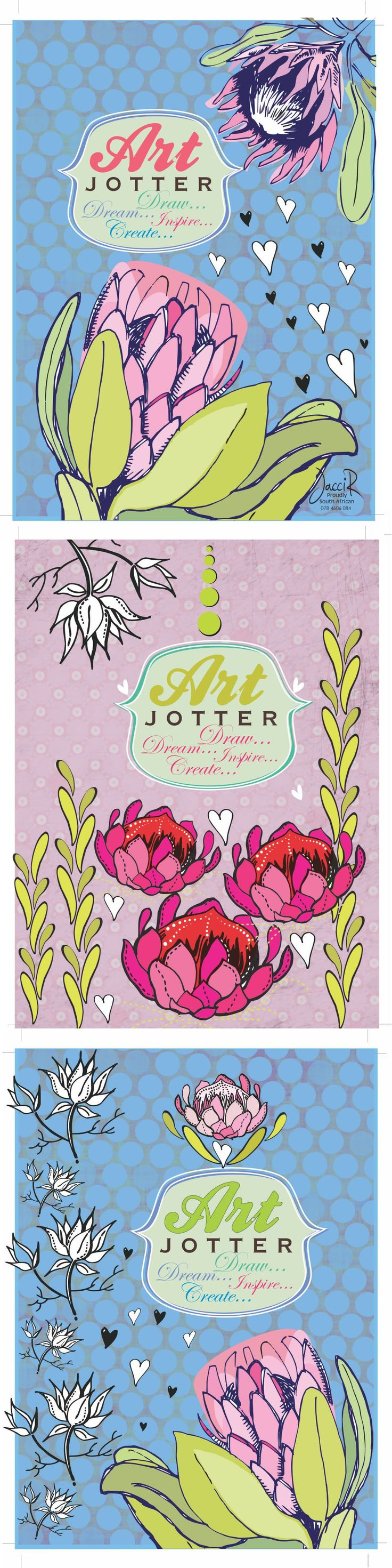 Pretty pastel protea's for a stationary series for JacciR Design