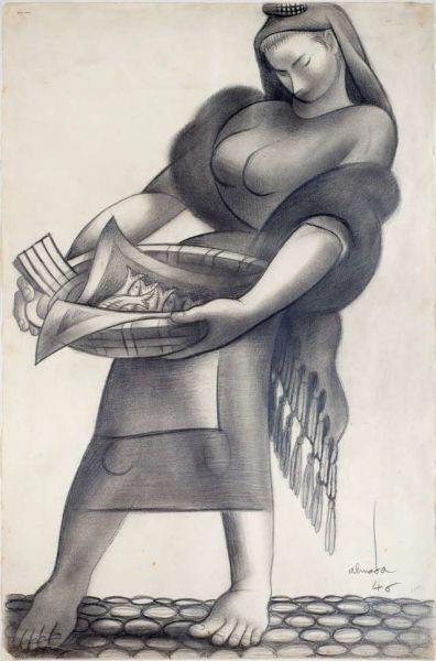 """Desenho de Almada Negreiros, """"Varina"""",Lápis sobre papel 69 × 46 cm assinado e datado, 1946."""