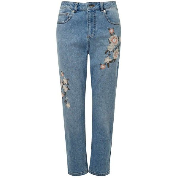 Miss Selfridge PETITE Embroidered MOM Jeans ($70) ❤ liked on Polyvore featuring jeans, blue, petite, miss selfridge, petite blue jeans, petite jeans, blue jeans and embroidery jeans
