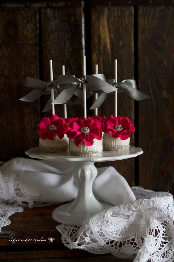 Glamorous Hot Pink Flower Wedding Cake Pops