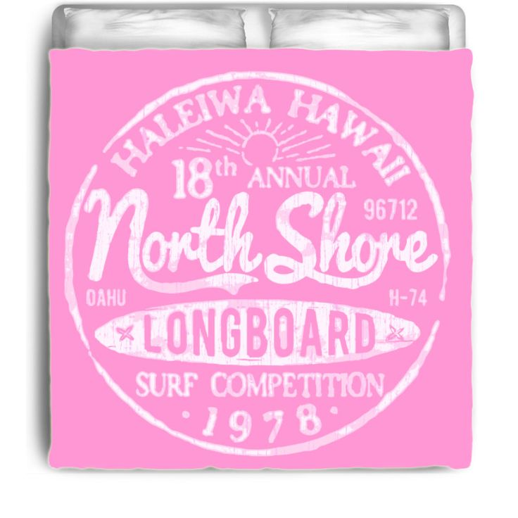 North Shore Pink Haleiwa Hawaii Surf Competition 1978 Surfer Bedding Beach Comforter - Eco Friendly & Made in USA