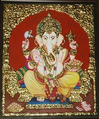Tanjore Painting- Lord Ganesha    this is the type of painting my brother does and his work is really amazing!