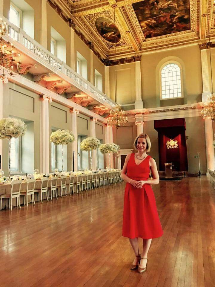 Dr Lucy Worsley seems pleased with the New Dining Room Decor at the Worsley Residence.