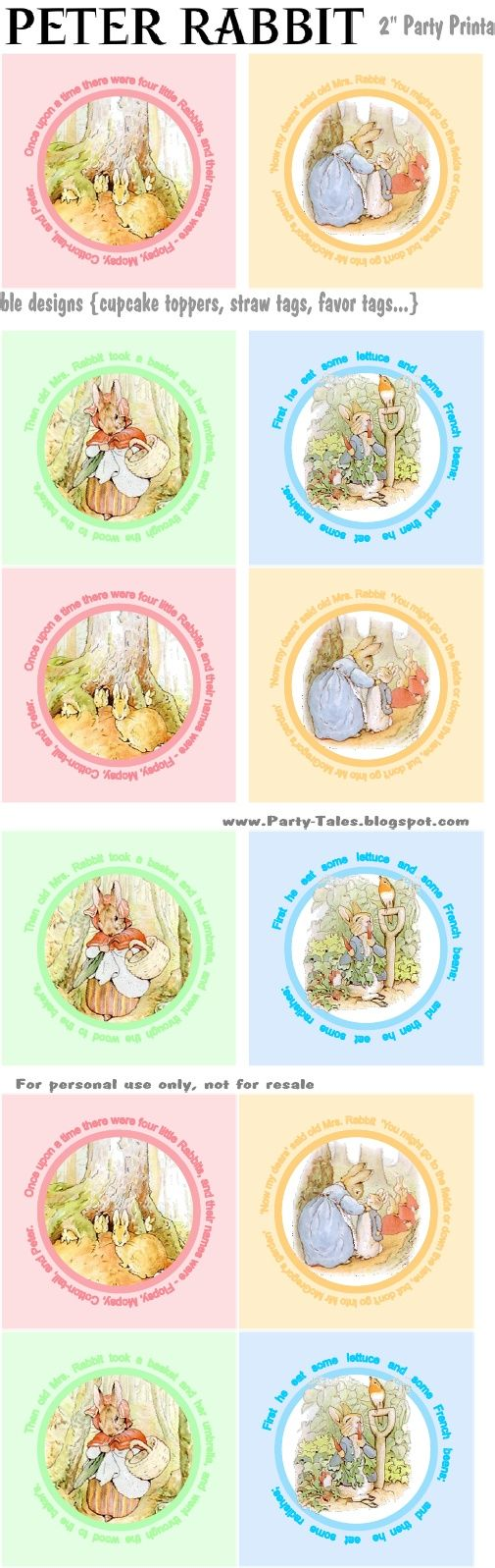 Peter Rabbit Cupcake Toppers free to print