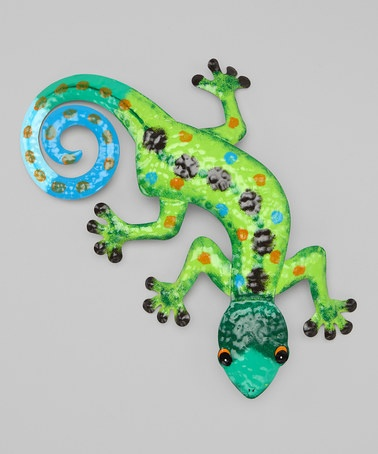 Dei lime green blue gecko wall art tole painting for Gecko wall art