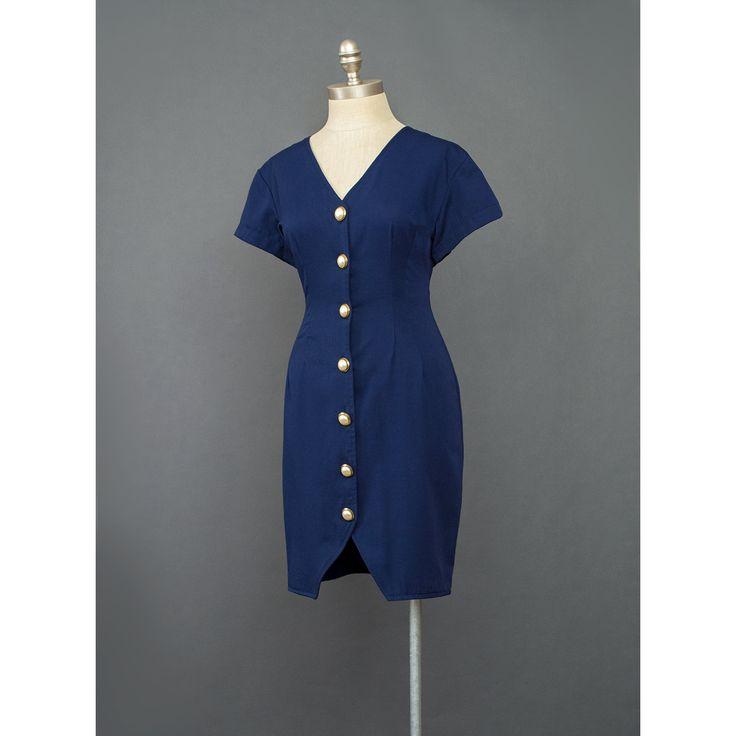 Navy Blue Dress - 80s Dress - Blue Mini Dress - Pearl Button Down Dress - V Neck Short Sleeve Bodycon Dress - Nautical Dress - 1980s Dress  #vintage #etsy #dresses #short #1980s #nautical #vtg #office #secretary #professional #business #career #spring #summer #shortsleeve #rayon #womens #wear #fashion #style #chic