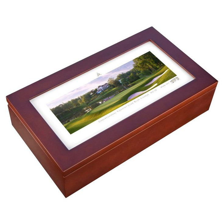 Stonehouse Mahogany Cigar Humidor -- Famous Golf Courses - CONGR10H