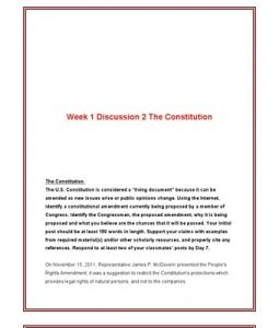 "The Constitution The U.S. Constitution is considered a ""living document"" because it can be amended as new issues arise or public opinions change. Using the Internet, identify a constitutional amendment currently being proposed by a member…  (More)"