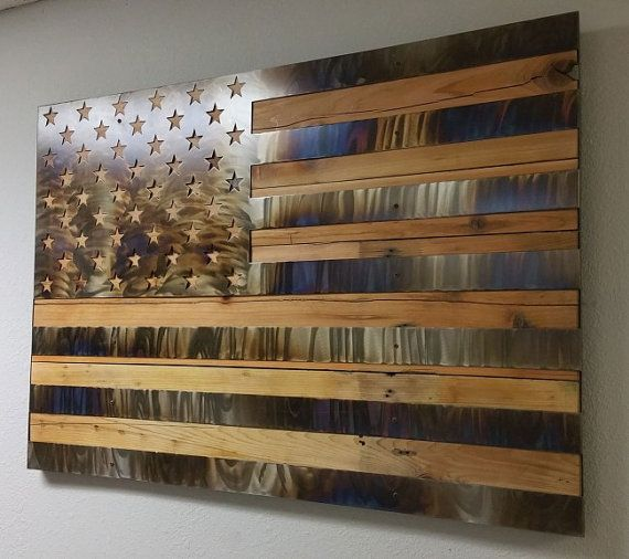 Usa United States Flag Custom Burn Metal On Reclaimed Wood