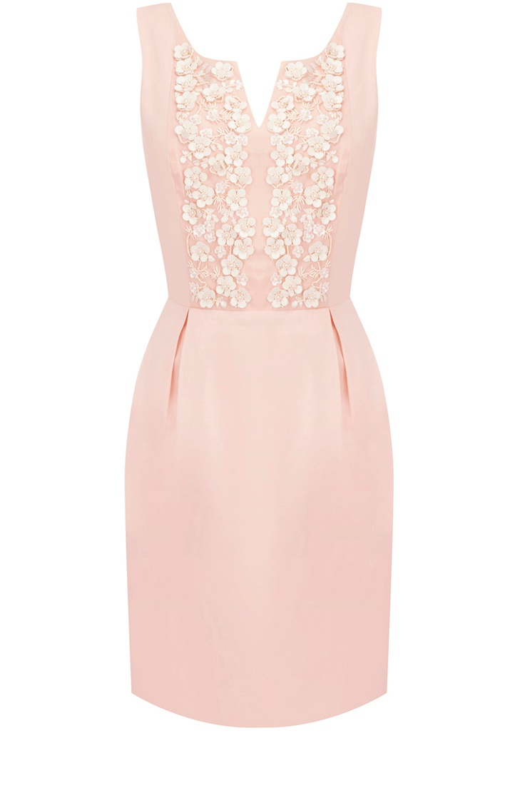 Jasmyne Petal Dress  £90.00      This candy pink 50's dress features exquisite floral beading and pretty pin tucks. Sleeveless in style, this piece has a cut-out neckline adding a touch of femininity.