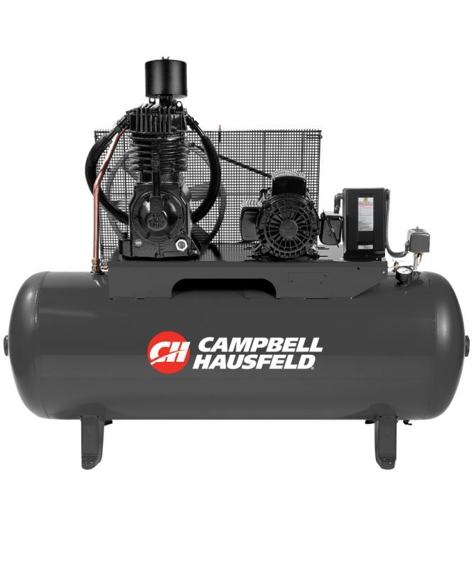 Campbell Hausfeld CE7005 230V 7.5HP Air Compressor with 80 Gallon Horizontal Tan Air Compressors Stationary Electric