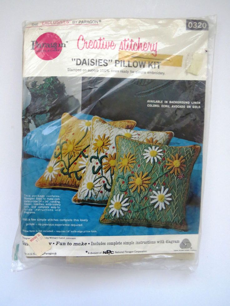 PARAGON Needlecraft Pillow Kit DAISIES Daisy Pattern 0320 NEW Unopened Ecru  #ParagonNeedlecraft
