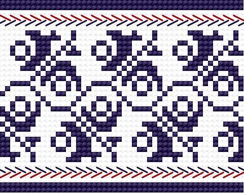 Traditional pattern from Wlodawa, Poland (early 20th c.) (folk, polish, design, border)