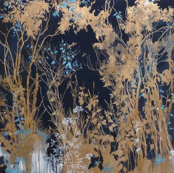 henrik simonsen/dark blue and gold oil, gold pigment and graphite on canvas 120 x 120 cm 2012