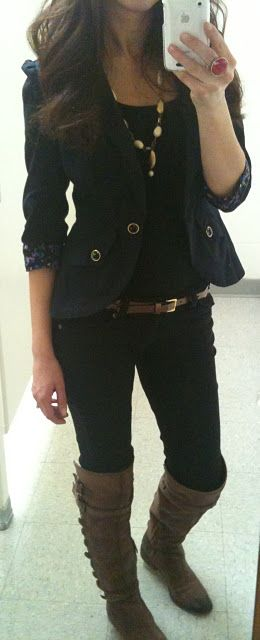 black jeans and a blazer