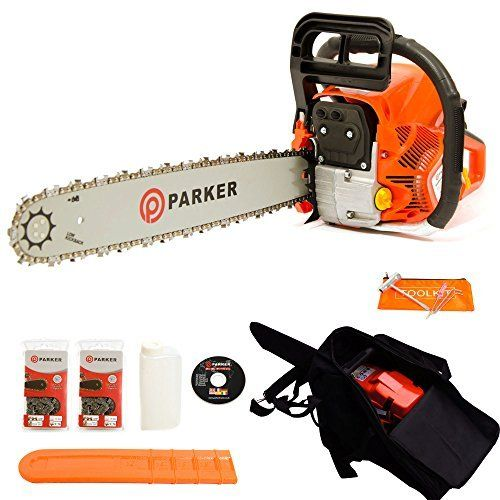 """Looking for a powerful and affordable chainsaw? Then our cleverly designed Parker 62cc 20"""" Petrol Chainsaw is just what you've been searching for. Delivering both performance and value for money this reliable petrol chainsaw features an efficient 2 stroke, air cooled engine housed in an ergonomic and comfortable, lightweight construction. Perfect for slicing through more challenging logs and timber the Parker PCS-6200 can't be beaten on price or performance!"""